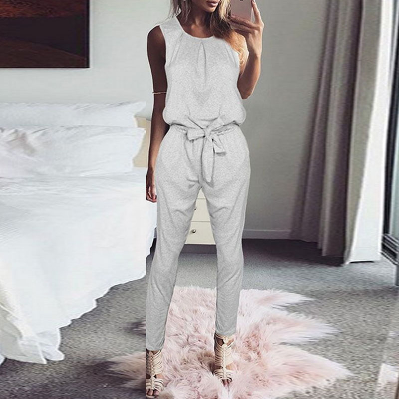 Elegant Women   Jumpsuit   2018 Sexy Sleeveless Badysuit Trousers Casual Pants Tank Rompers Holiday Belted Overalls Female Pantalon