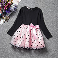 3-8T Cotton Girl Dress Bow-knot Baby Girls Print Dresses Long Sleeve Patchwork Dresses Spring Summer Girls Clothes Hot 2016