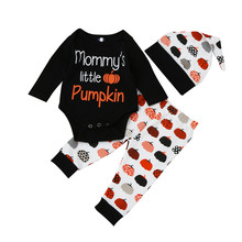 Retail Free shipping 2018 INS children's wear Halloween Pumpkin Set Children Cute Long Sleeves Baby 3Piece Set