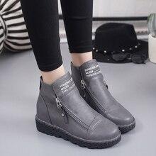 New Women Martin Boots Autumn Winter Classic Zipper Snow Ankle Suede Warm Fur Plush Shoes 35-40