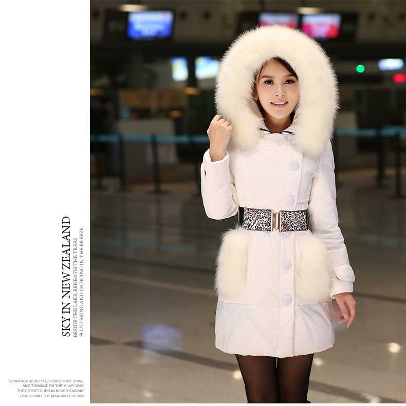 New Arrival Fashion Korean Winter Fur Collar And Pockets Duck Jackets Hooded Leopard Belt Slim Fluffy Hem Women Outerwears H5225 new arrival fashion korean winter hooded cotton adjustable hem double breasted puff sleeve fur collar women jacket coat h4283