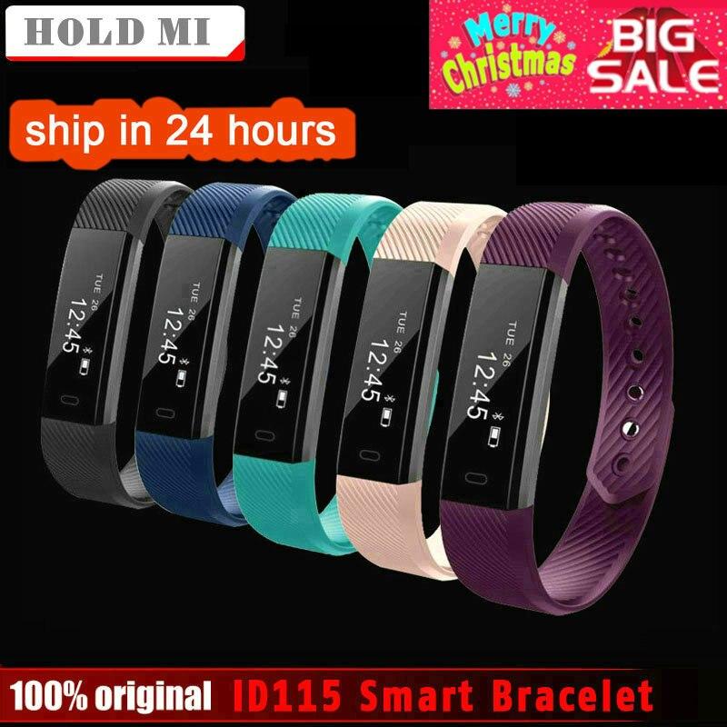 HoldMi ID115 pulsera inteligente rastreador de Fitness de contador de paso Monitor de actividad banda reloj de alarma de vibración pulsera IOS Android teléfono
