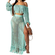 Sexy Slim Knitted Beach Two Piece Set Women Short Tassel Tops  Skirts Outfits Casual Off Shoulder 2