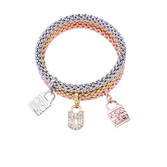 MEIDIJINGBEI fashion charm bracelet exquisite crystal lock pendant fashion bracelet and bracelet for lovers jewelry gifts