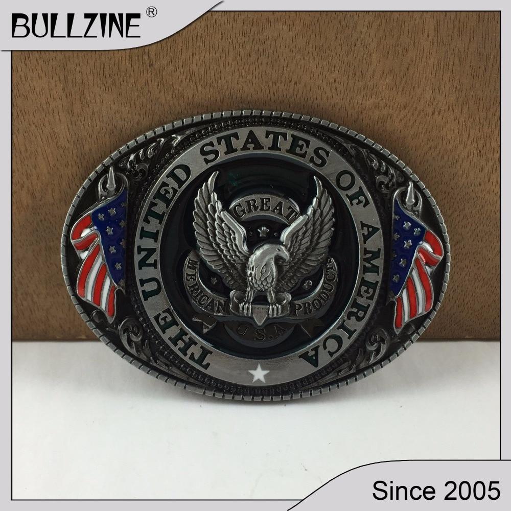 Bullzine Eagle With Flag Jeans Cowboy Belt
