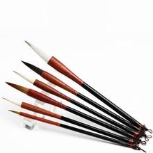 High Grade Chinese Traditional Calligraphy Pen Landscape Painting Writing Brush Weasel Hair Regular Script Writing Brush 6pcs