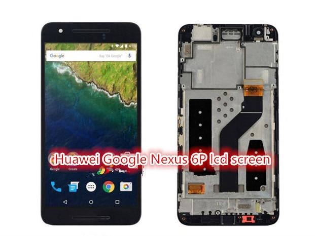 100% гарантия для Huawei Google Nexus 6 P ЖК-Дисплей с Сенсорным Экраном Дигитайзер Запасные Части с рамкой