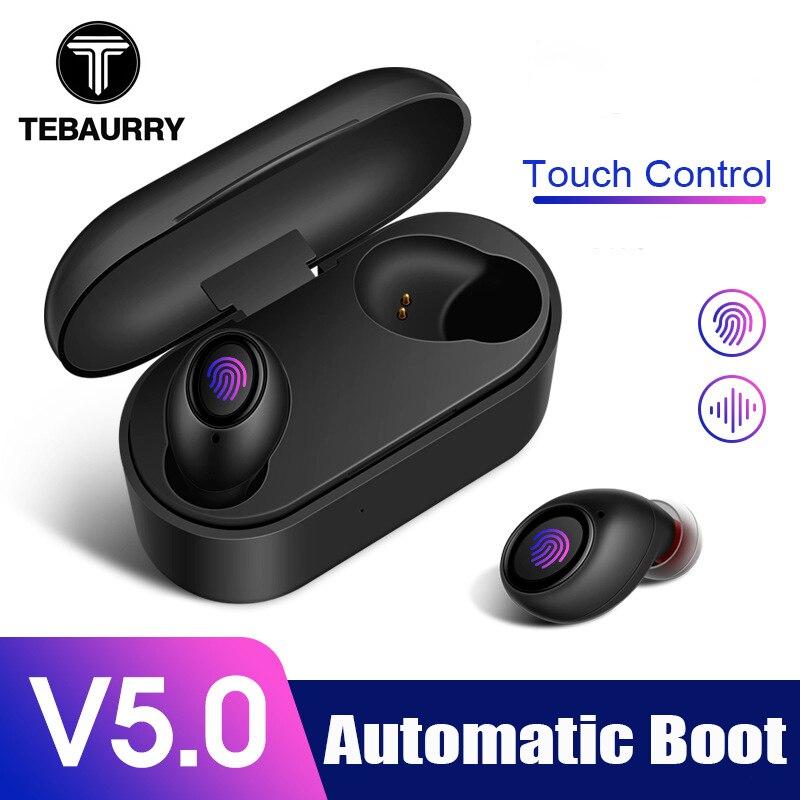 TEBAURRY Bluetooth écouteurs 5.0 TWS Mini casque sans fil contrôle tactile 3D stéréo basse écouteurs avec boîte de charge Portable