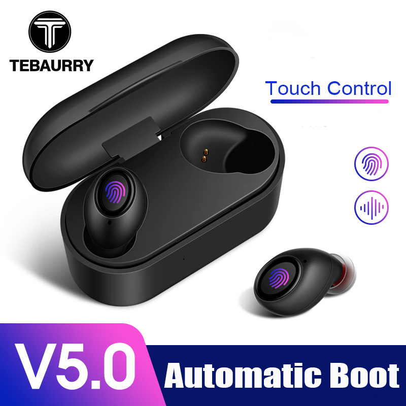 TEBAURRY Bluetooth Earphones 5.0 <font><b>TWS</b></font> Mini Wireless Headset Touch Control 3D Stereo Bass Earbuds with Charging box Portable image