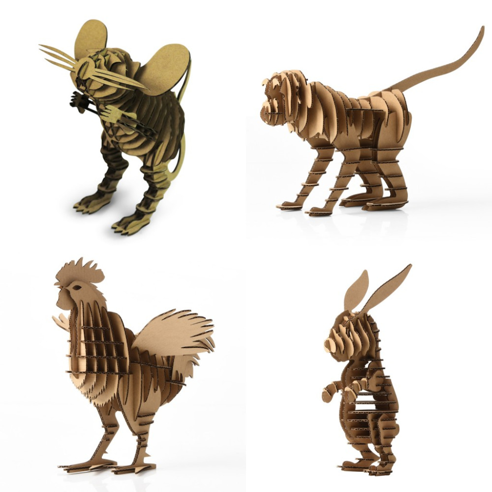 Hot 4pcs Chinese Zodiac Mouse Monkey Chicken Rabbit Animal Model Paper Jigsaw Puzzle Intelligent Kids Toy Best Display Gift Pack 3d jigsaw paper hero style puzzle block assembly toy