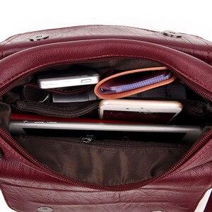 Image 5 - חם נשים עור שליח תיק תיקי יוקרה מעצב באיכות גבוהה נקבה בציר Crossbody שקיות לנשים דש כתף שקיות
