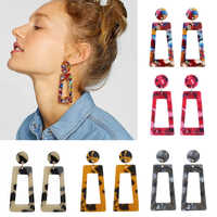 New Fashion 2019 Mixed Color Acrylic Dangle Earrings for Women Girl Statement Personality Geometric Pendant Drop Earring Jewelry