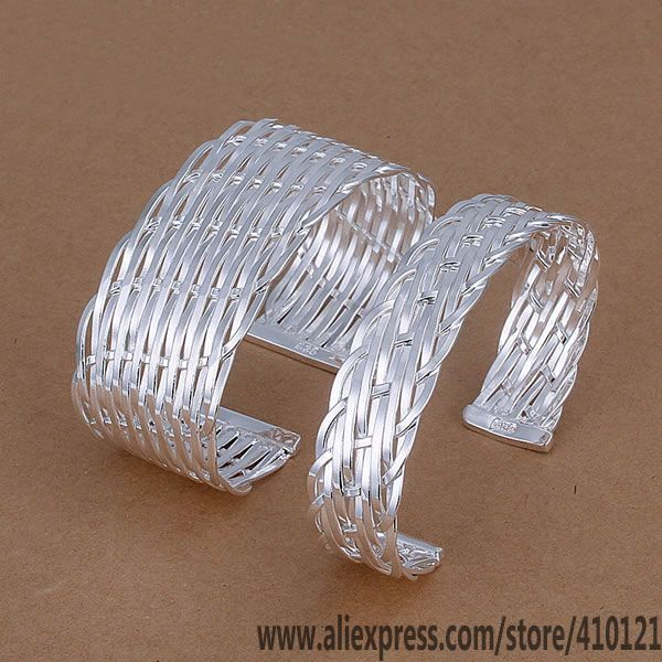 Jewelry Sets & More Generous S262 Hot Sale Silver Plated Jewelry,wholesale 925 Jewelry Silver Charms Fashion Set Knitted Mesh Bangle/dfnalwua Htvaqlca Quality And Quantity Assured