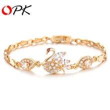 Винтажный Лебедь дизайн звенья цепи женские браслеты Мода Золотой