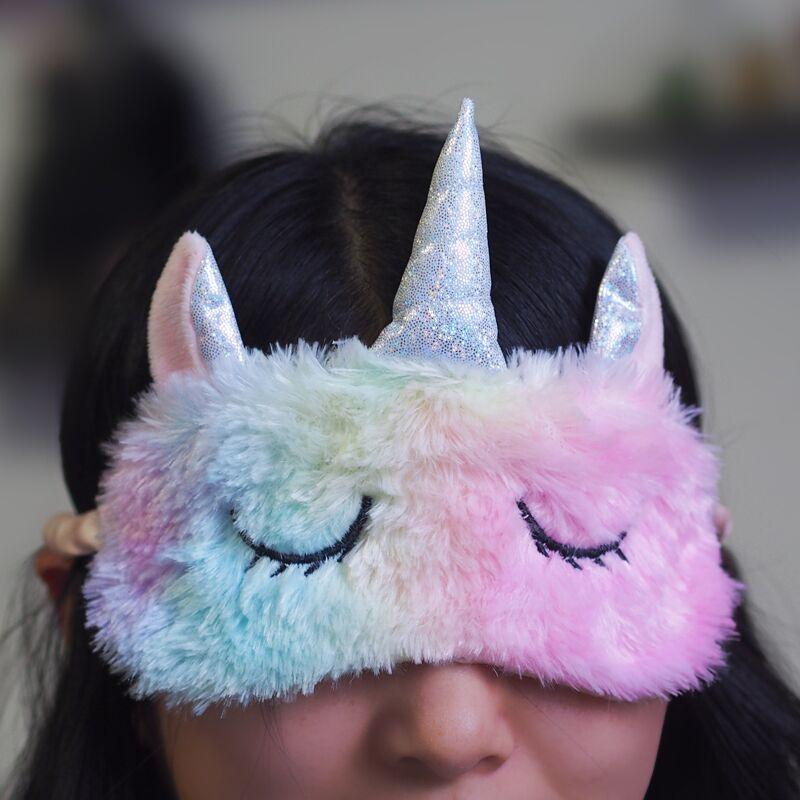 Cartoon 1PCS Mayitr Unicorn Eye Mask Variety Sleep Mask Plush Eye Shade Cover Eyeshade Mask Suitable For Travel Home Plush Gift