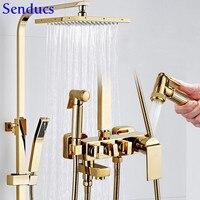 Mejor Juego de ducha de oro Senducs sistema de ducha de baño de latón de calidad grifo