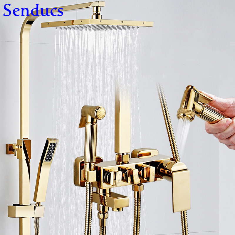 Senducs Gold Shower Set Quality Brass Bathroom Shower System Hot Cold Gold Bath Shower Faucet Newly Square Gold Shower Sprayer