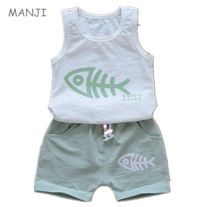 Baby Boys Clothes Summer 2017 New Fashion Style Cotton Sport Boy Vest Set Fish Print  0-3 years old Infant Children Sets A040