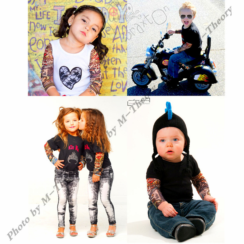 M-theory 1pcs Kid Size Rocker Sleeve Arm Stockings Leggings 3D Biker Tattoos Henna Makeup Tools Temporary Body Art
