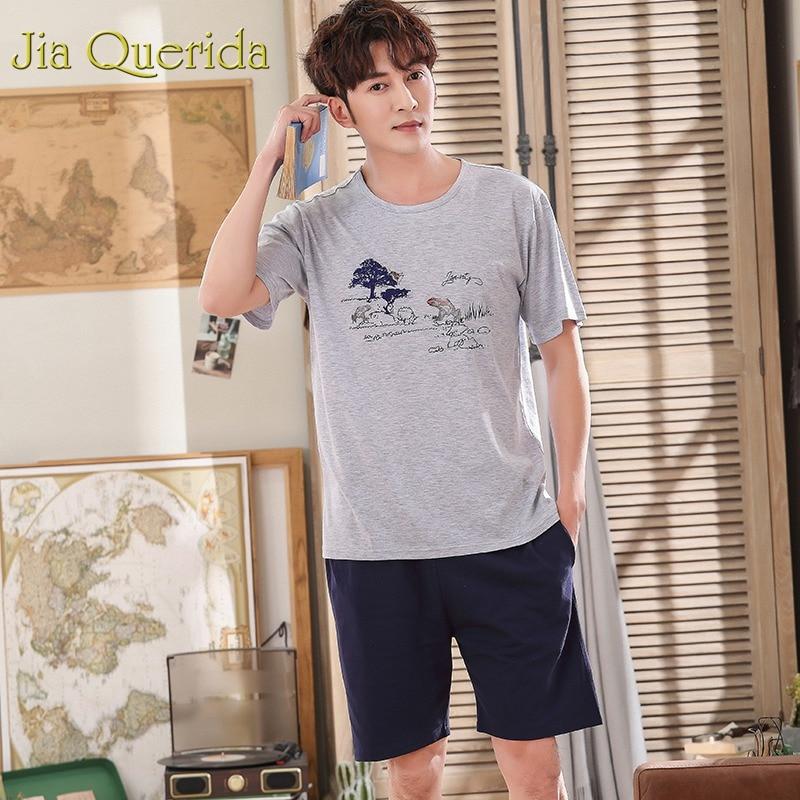 Systematic J&q Pijama De Hombre 2019 Summer Shorts Plus Size Men 100% Cotton Solid Printing Mens Pajamas Heren Pyjama Huis Pak Man Pijamas 100% High Quality Materials Men's Sleep & Lounge