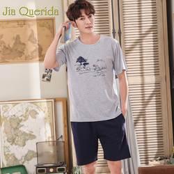 J & Q Pijama De Hombre 2019 летние шорты плюс размеры для мужчин 100% хлопок сплошной печати мужчин пижамы Heren Pyjama Huis Pak человек Pijamas