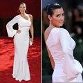 Sexy Kim Kardashian Celebrity Vestidos de Noche Blanco Vestido de Un Hombro de Manga Larga Vestido de La Celebridad Del Partido Del Vestido Formal PF24