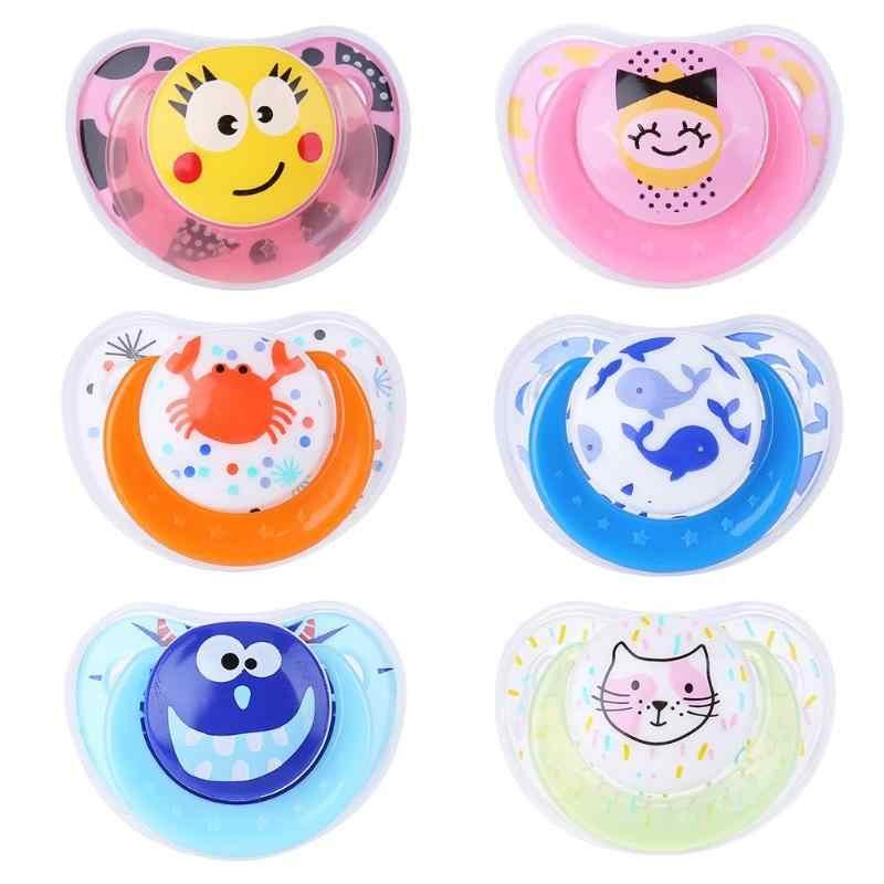 Chupete de silicona seguro para chupete de recién nacido, chupete antipolvo con tapa, mordedor para niños pequeños, chupete bonito de dibujos animados para niños