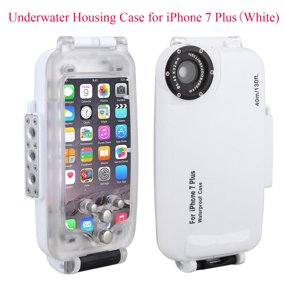 Meikon EasyDive 40m/130ft Waterproof Underwater Housing Case for iPhone 7 Plus,White Waterproof Case Cover for iPhone 7 Plus baseus guards case tpu tpe cover for iphone 7 red