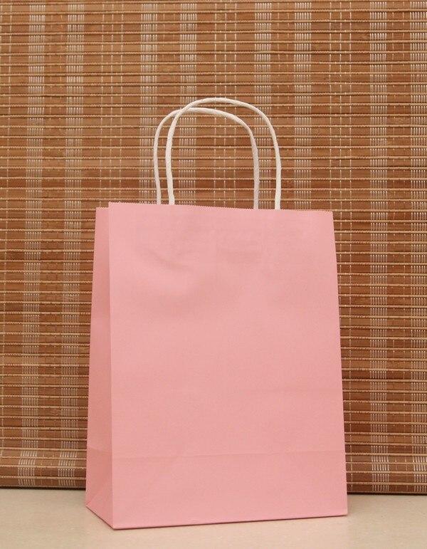 d54eea786 20 pcs 27x21x11 cm ضوء الوردي حقيبة هدايا ورقية من الكرافت القماش مستحضرات  التجميل التعبئة أكياس التسوق مع مقبض هدية الكريسماس حقيبة