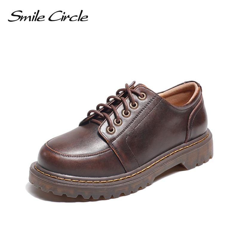 Smile Circle Oxford Flats Shoes Women Genuine Leather Shoes Lace Up Retro platform shoes Bullock Ladies