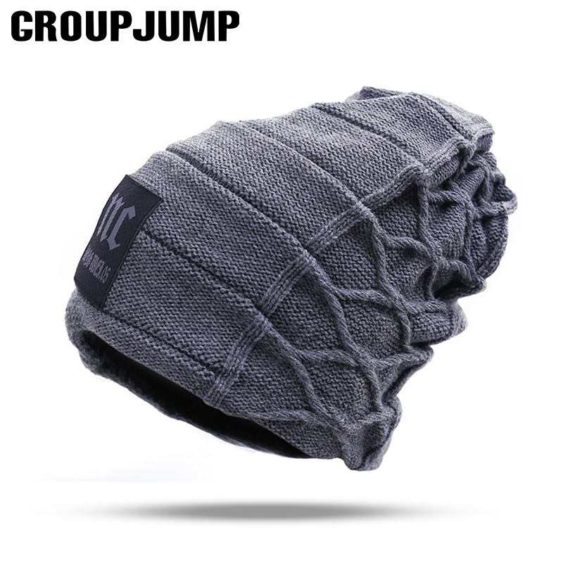 GROUPJUMP 2019 Stylish Skullies Beanies Warm Male Thick Hat Men's Winter Caps toucas