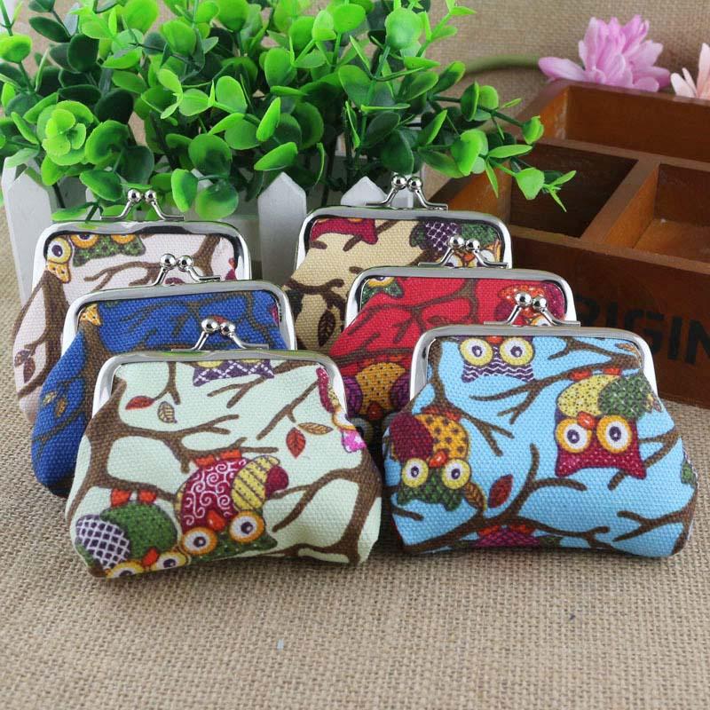 Simple Fashion Korean Women Coin Purse Canvas Cartoon Owls Printing Ladies Girls Clutch Bag Children Wallet LBY2017