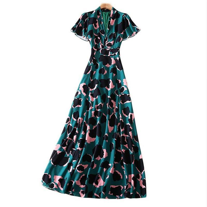 Designer robe de piste de haute qualité 2019 femmes à manches papillon col en v profond imprimé léopard Maxi longue robe SAD385-in Robes from Mode Femme et Accessoires    1