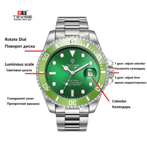 Image 2 - TEVISE Men Watches Automatic Mechanical Mens Watch Luxury Brand Waterproof Luminous Mens Calendar Wrist Watch Relogio Masculino