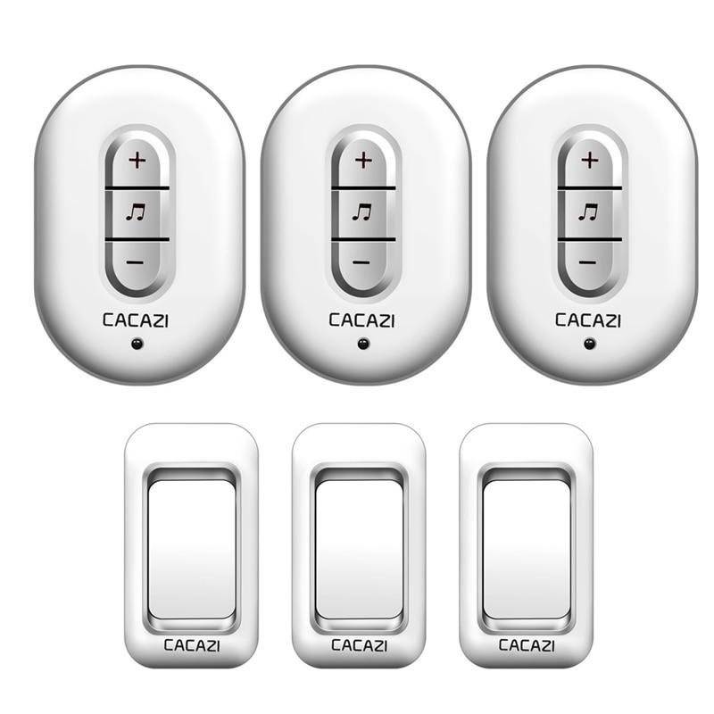 CACAZI Wireless Doorbell AC 110-220V 3 waterproof buttons+3 plug-in receivers 280M remote door bell 48 rings 6 volume door chime cacazi a9 3 ac 75 250v wireless doorbell 1 waterproof button 3 receivers 52 ringtones 4 volume 300m remote electronic doorbell