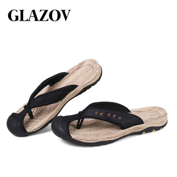 GLAZOV Brand Men's Flip Flops High Quality Genuine Leather Luxury Slippers Beach Casual Sandals Summer for Men Fashion Shoes New 3