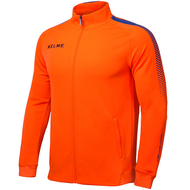 Kelme K077 Men Long Sleeve Stand Collar Breathable Windproof Sports Windbreaker Training Football Knitted Jacket Orange stand collar pu leather long sleeve linellae design men s jacket