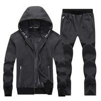 Warm Winter Sport Suits Men Hoodies Sets 7XL 8XL Big Size Mens Gym Sportswear Fleece Fabric