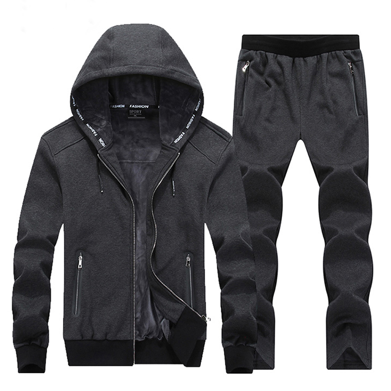 Warm Winter Sport Suits Men Hoodies Sets 7XL 8XL Big Size Mens Gym Sportswear Fleece Fabric Running Jogging Suit Male Tracksuit kangfeng серый цвет 7xl