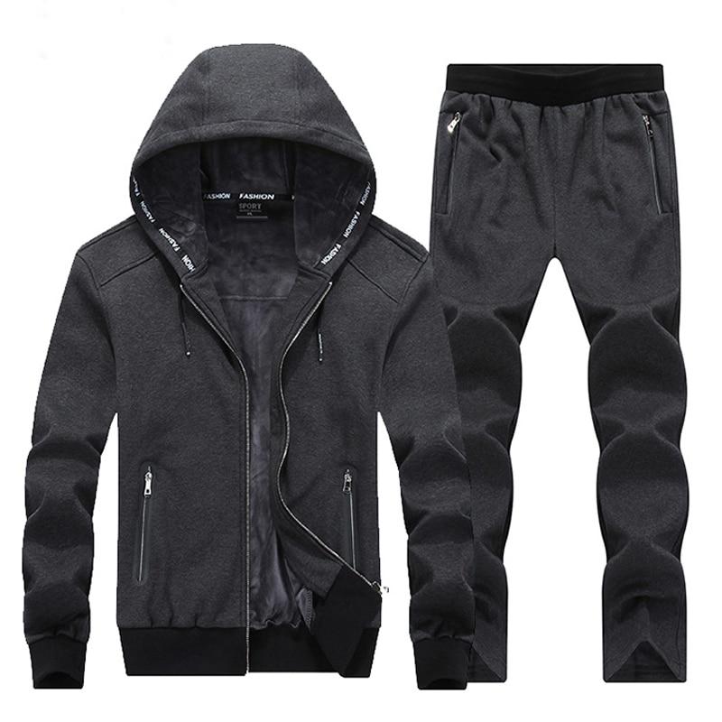 Warm Winter Sport Suits Men Hoodies Sets 7XL 8XL Big Size Mens Gym Sportswear Fleece Fabric Running Jogging Suit Male Tracksuit