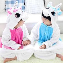 2016 Pyjamas Roupas Infantis Menina Pyjamas Pour Enfants Flanelle Bébé Garçon Chaud D'hiver de Bande Dessinée Bleu/rose Licorne Onesie Nuit