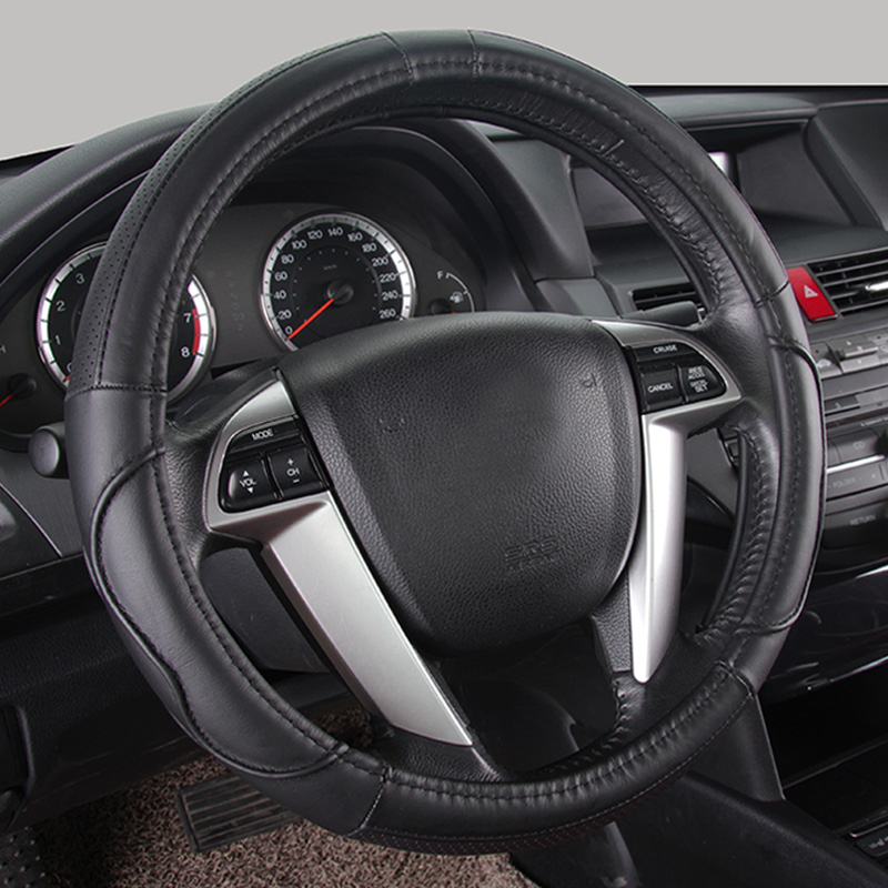 M Size 15'' Diameter Leather Car Steering Wheel Cover for Mitsubishi Lancer Outlander ASX Grandis Pajero Sport Steering Wheels npezkgc men dress shoes slip on black oxford shoes for men flats leather fashion men shoes breathable comfortable zapatos hombre