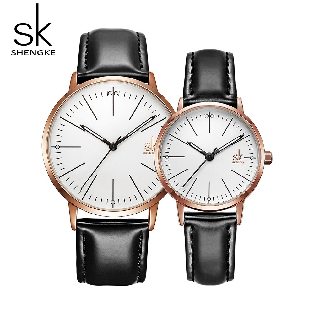 Relógio de Quartzo Presente para os Amantes Shengke Novo Casal Couro Preto Estilo Negócios Relógios Masculinos Unisex Mhorloges Mannen