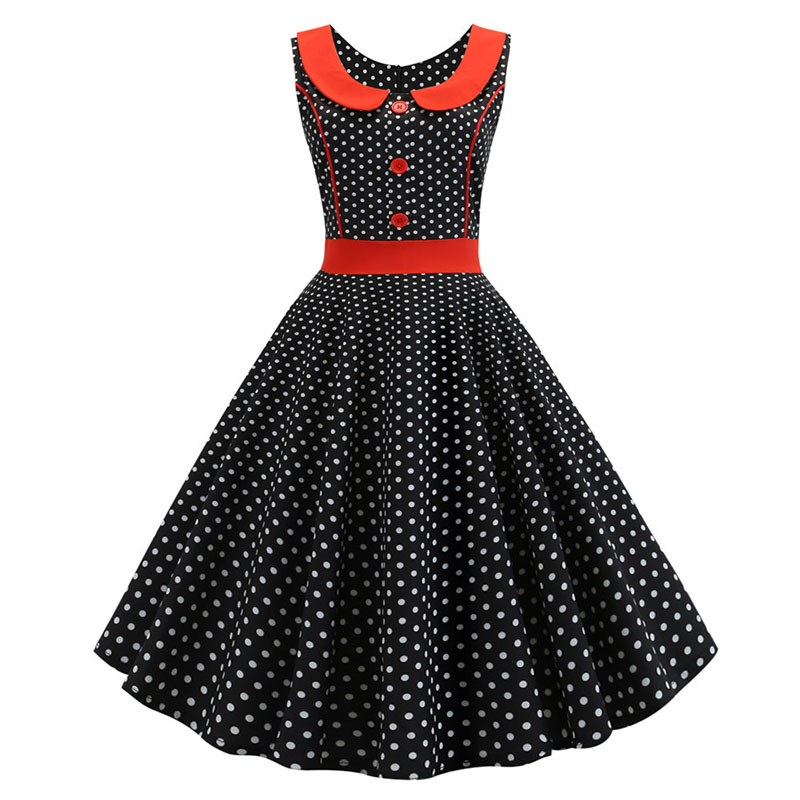 Women Summer Plaid Print Vintage Dress Sundress Peter Pan Collor Elegant Swing Party Dresses Pin Up Rockabilly Vestidos