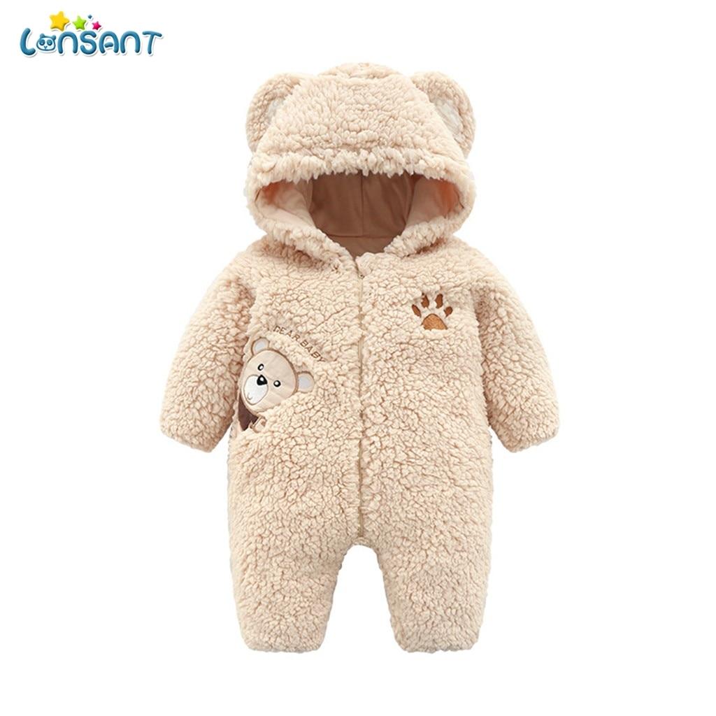 Lonsant macacão de bebê com capuz manga longa com zíper impresso dos desenhos animados infantil crianças inverno macacão n30