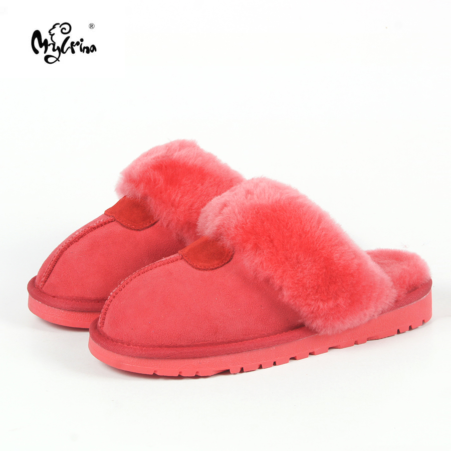 Top Quality Natural Sheepskin Fur Slippers Fashion Female Winter Slippers Women Warm Indoor Slippers Soft Wool