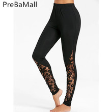 Fashion Women's Patchwork lace Pattern Leggings High Waisted Leggings Black Workout Stretch Leggings for Women C231 black animal pattern printed leggings