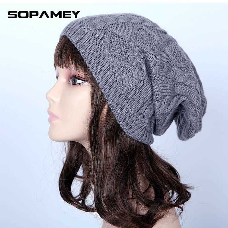 Women Skullies Winter Wool Knitted Hat Female Brand Beanies Cap Casual Solid Sets Headgear Hats For Women 2017 Knitted Beanies skullies
