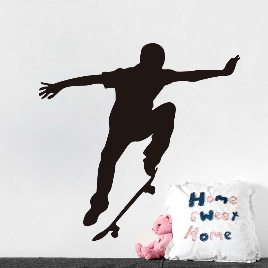 Fashion Skate Wall Decal Vinyl Skateboard Extreme Sports Wall Sticker Removable Art Murals Self Adhesive Wallpaper For B