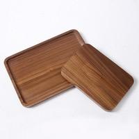 Wooden Plate Spot Japanese Black Walnut Wood Tea Tray Wooden Solid Flat Plate Scroll Serving Tray